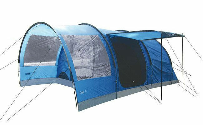 Tent TOURIST Highland Oak 4 Persons LARGE FAMILY CAMPING CAMPING CAMPING HOLIDAY TUNNEL Blau b815ed