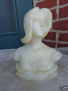 ANTIQUE-VICTORIAN-19th-CENTURY-HAND-CARVED-ALABASTER-LADY-TAMBOURINE-BUST-STATUE