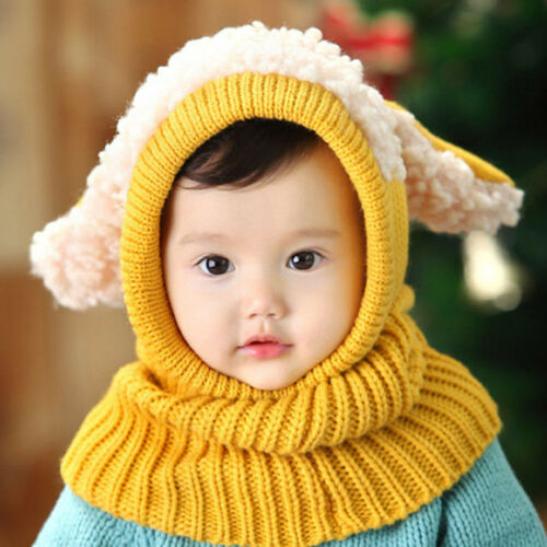 Fashion Baby Girls Boys Kids  Winter Warm Hat Hooded Scarf Knitted Cap new