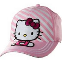 Hello Kitty Baseball Hat Pink Stripe - Hat Fits Most Children And Teens.