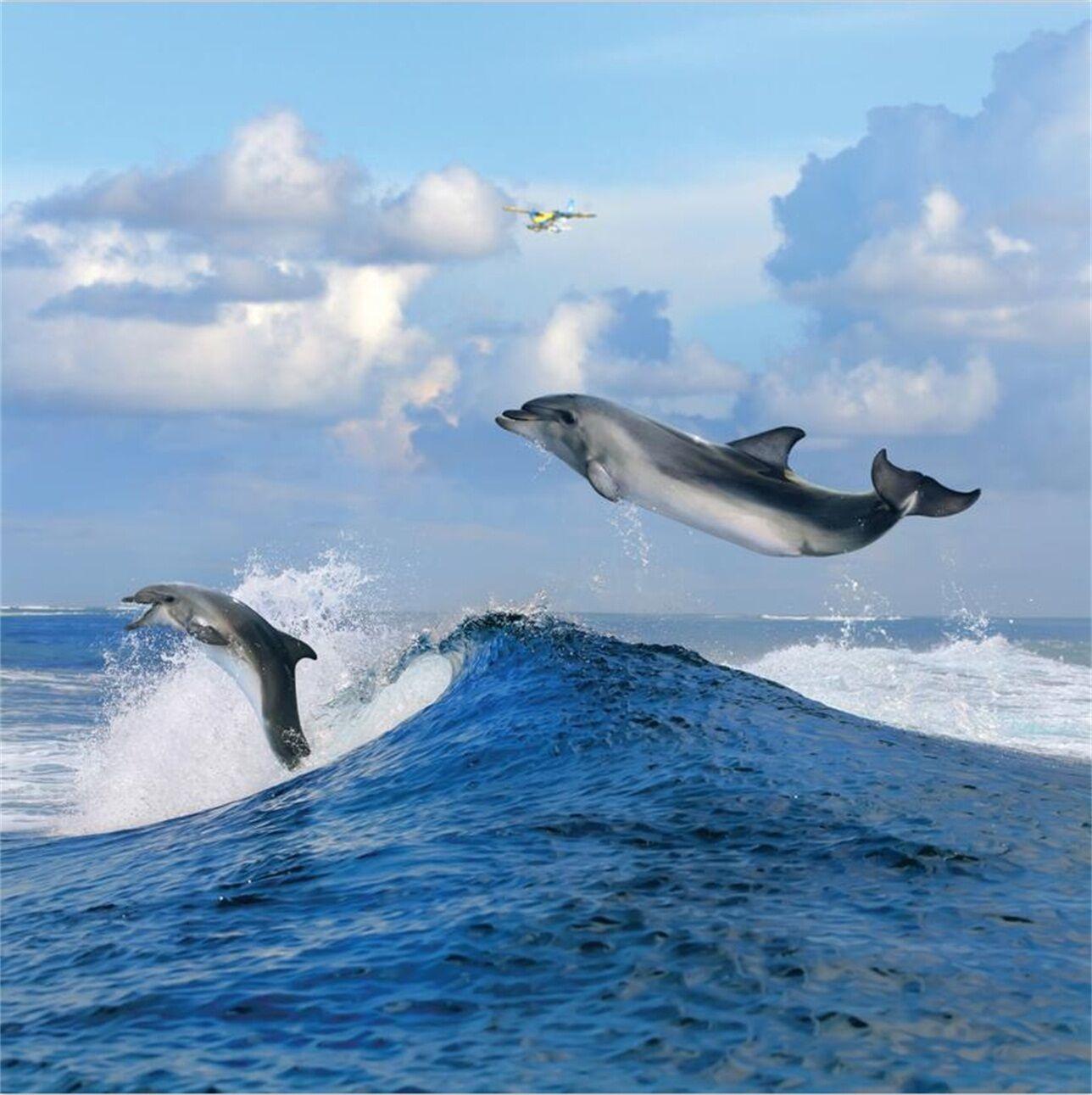 3D Jumping Dolphins 10 WallPaper Murals Wall Print Decal Wall Deco AJ WALLPAPER