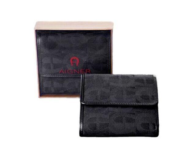 f868a76a334a8 AIGNER Original Damen Geldbörse Portemonnaie Leder schwarz Portmonee schwarz