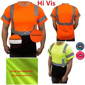 Hi-Vis-ANSI-Class-3-Safety-T-Shirt-Moisture-Wicking-Mesh-Short-Sleeve-Reflective