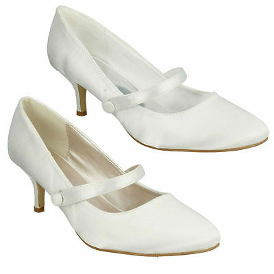 Anne Michelle F9698 Ivory Or White Satin High Heel Court Shoes