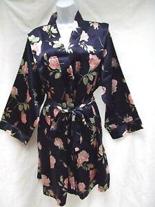 vtg-90s-Intimate-Essentials-2X-short-silky-blue-floral-rose-wrap-robe-lingerie
