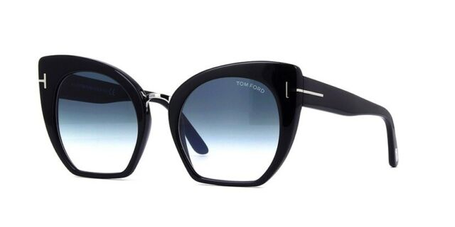 new photos great deals 2017 reputable site TOM FORD SAMANTHA-02 TF 553 01W Black Silver Blue Gradient Lens Women  Sunglasses