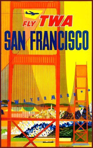 San Francisco 1950 Golden Gate Bridge TWA Vintage Poster Print Travel Tourism