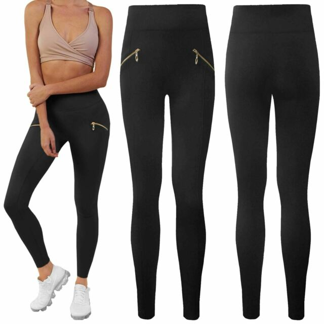 11a56ccb1cff20 LADIES WOMENS FLEECE LEGGING THICK HIGH WAIST THERMAL ZIP SLIM FIT TROUSERS