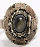 Vtg Sterling Silver Stone Mexico Taxco Signed Adjustable Poison Ring