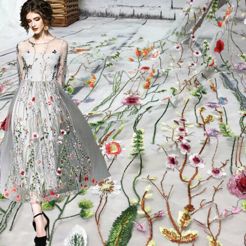 Advanced Multi Colors Flowers Tulle Embroidery Dress Lace Fabric 51/'/'//Yard Gown