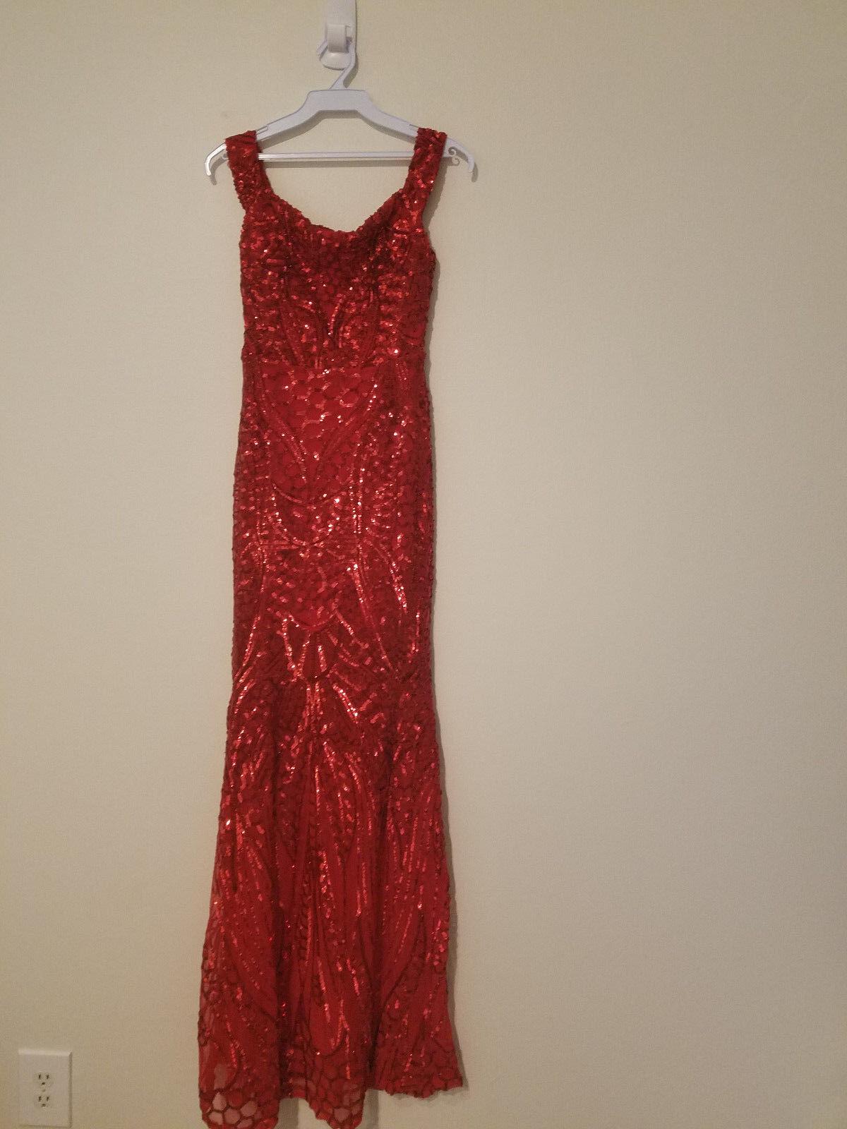 damen rot Sequins Off Shoulder Cocktail Maxi Dress