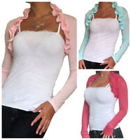 New Ladies Bolero Womens Shrug Cropped Cardigan Top Long Sleeve Size 8 10 12