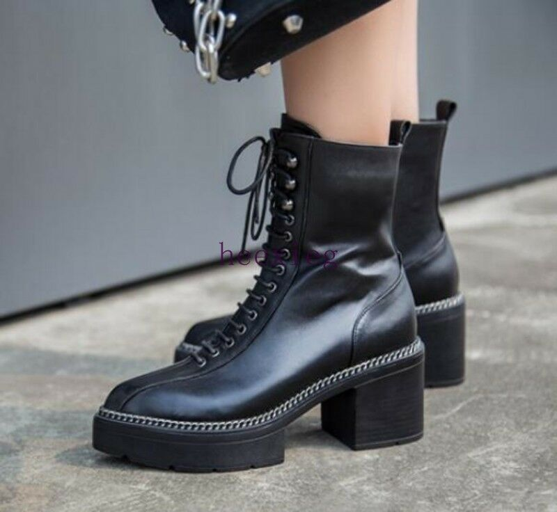 Punk Womens Lace Up Knight shoes Ankle Boots Platform Chunky Heel Pointy Toe Hot