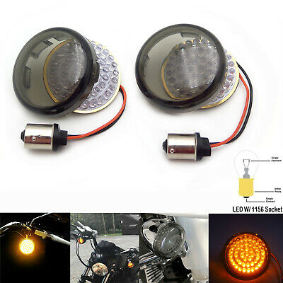 2x Amber 1156 LED Turn Signal Blinker Daytime Running Light for Harley