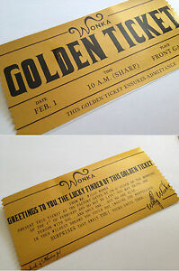 Willy Wonka Golden Ticket FILM REPLICA fancy dress prop Charlie Bucket - <span itemprop='availableAtOrFrom'>Reading, Berkshire, United Kingdom</span> - Willy Wonka Golden Ticket FILM REPLICA fancy dress prop Charlie Bucket - Reading, Berkshire, United Kingdom