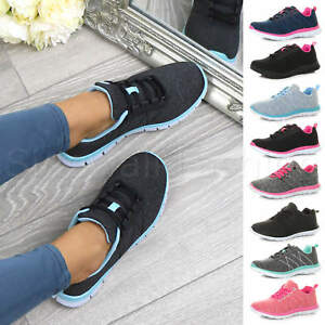 Womens-ladies-comfort-memory-foam-lace-up-trainers-activewear-sneakers-gym-shoes