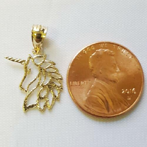 14k Yellow Gold UNICORN Pendant Charm Made in USA