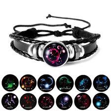 12 constelación pulseras de cuero trenzado Brillan En La Oscuridad Luminoso Joyería Hot