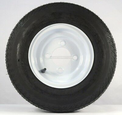 "Two Trailer Tires & Rims 4.80-8 480-8 4.80 X 8 8"" B 4 Lug Hole Bolt Wheel White"