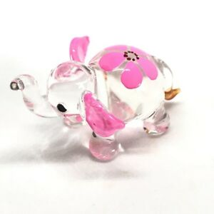 Pink Miniature Animals Glass Hand Blown Elephant Figurine Collection Dollhouse