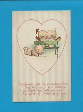 Adorable KEWPIES MAKE LOVE Colorful A/S ROSE O'NEILL Vintage VALENTINE Postcard