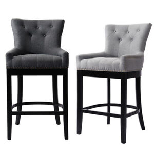 Modern Fabric Kitchen Bar Stool Scoop Back Chair With Backrest Wood Legs 2colour Ebay