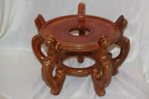 Image Is Loading Wooden Oriental Wood Fish Bowl Plant Stand Holder