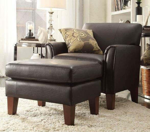 Chair and Ottoman Set Brown Faux Leather Seating Living Room Bedroom Modern