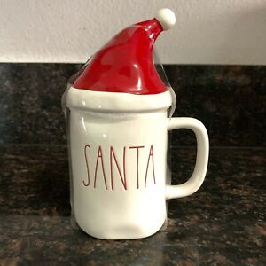 Rae-Dunn-Christmas-SANTA-Mug-With-Hat-Topper-Christmas-LL-By-Magenta