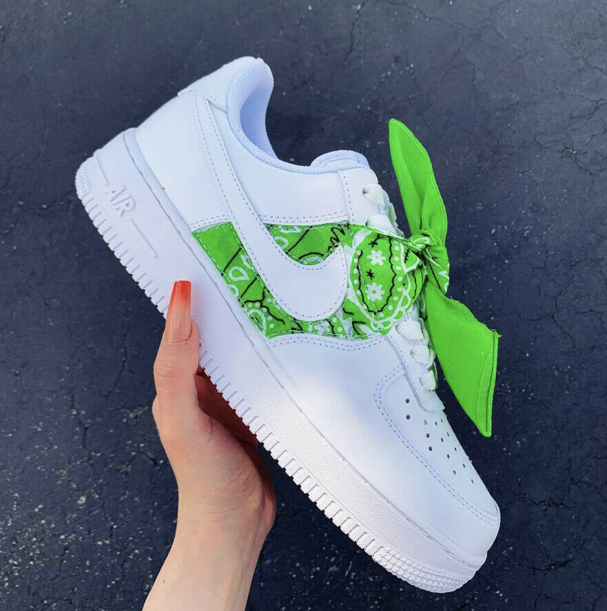 Custom Nike Air Force 1 Size 6y 7 5 Women White Bandana Ebay