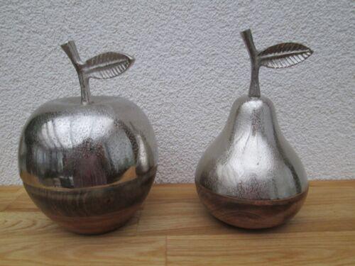 Apfel Birne Metallic-Wood mit Holz Unterteil Deko Wohnen Wohndeko