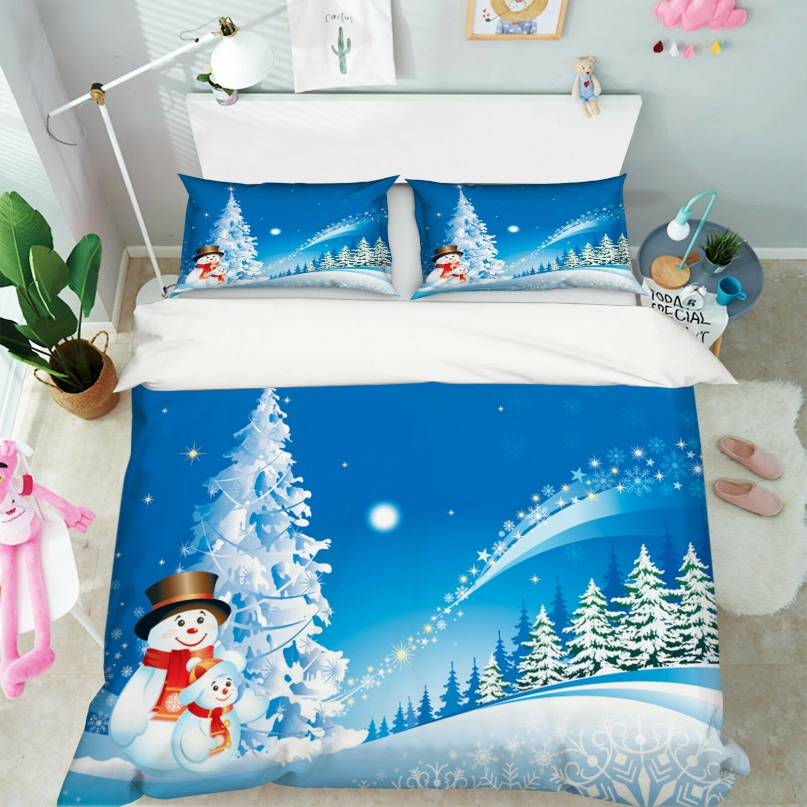 3D Christmas Xmas Night 84 Bed Pillowcases Quilt Duvet Cover Set Single Queen UK