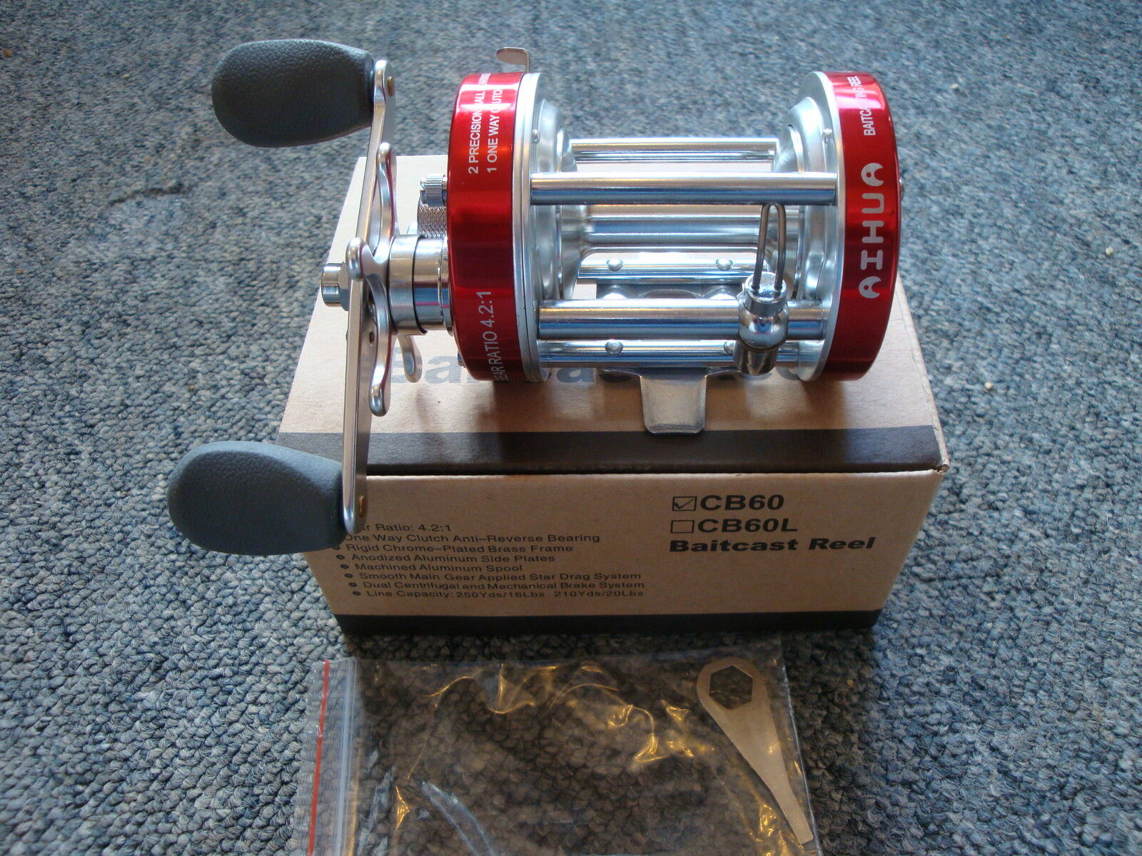 AIHUA CB60 Red Fishing Reel ,MULTIPLIER ,Right or Left Holds