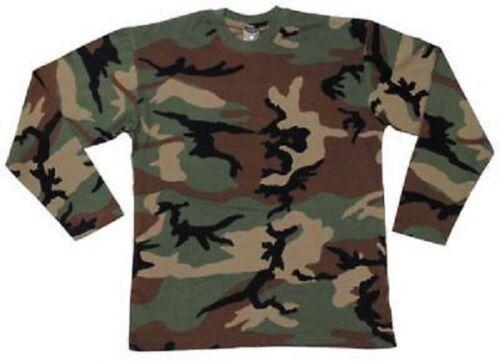 Us long sleeve Army manga larga Woodland camuflaje military outdoor camiseta Camisa