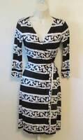 Diane von Furstenberg New Julian two Chain Bands 14 black stripe dress wrap