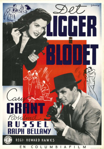 His Girl Friday Rosalind Russel Cary Grant movie poster print 24x34 1940