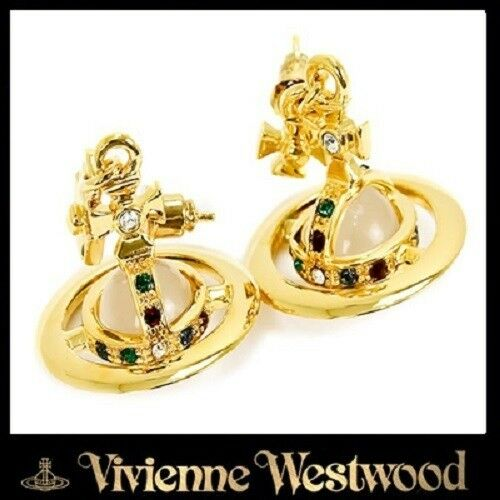 Vivienne Westwood gold ORB PIERCED EARRINGS gold