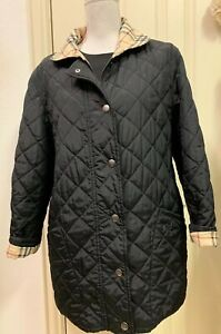 EUC-Burberry-London-Snap-Front-Quilted-Jacket-Nova-Check-Lining-Black-Size-36