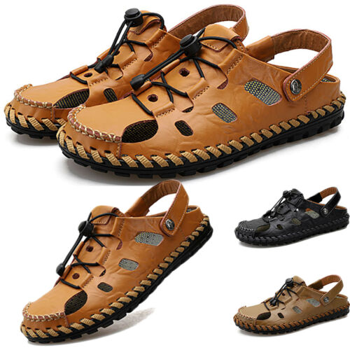 Mens Summer Leather Strappy Hiking Closed Toe Hollow Beach Water Shoes Slip On