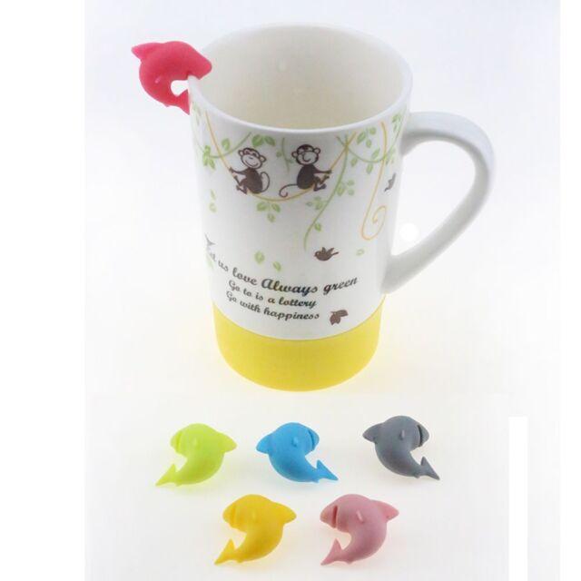 6pcs Mug Mini Tea Bag Markers Shark Shape Cup Holders Cup Mug