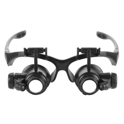 Headband Magnifier 2LED Glasses Magnifying Loupe for Hobby Repair Reading TE1024