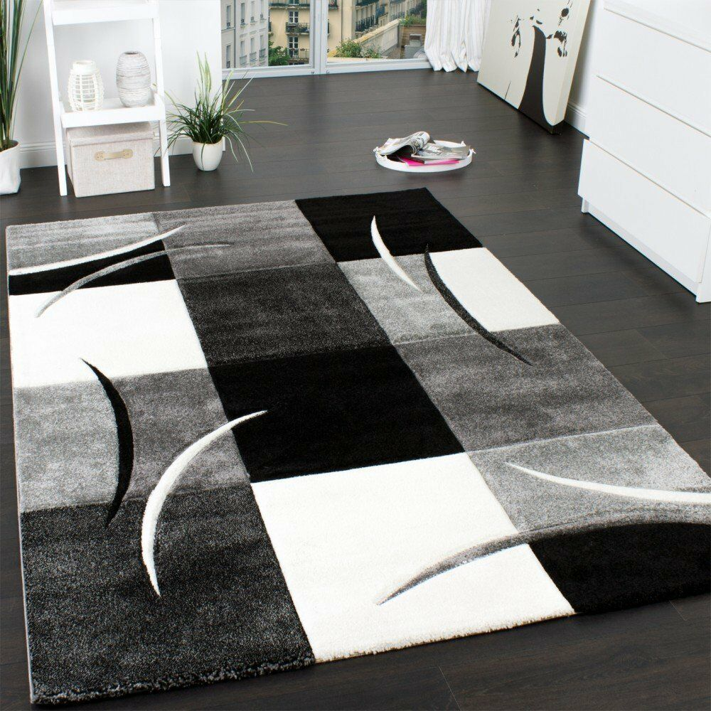 Designer noir et gris tapis geometriques geometriques geometriques extra large pour chambre ou salle | Aspect Attrayant  870111