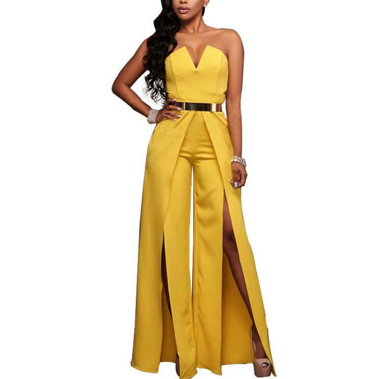 Sexy Ladies Nightclub European Jumpsuits Multi color Slit Casual Fashion Clothes