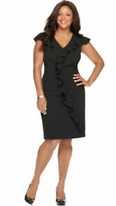 NWT-Spense-Black-Solid-Cap-Sleeve-Banded-Waist-Ruffle-Dress-Plus-Size-18W