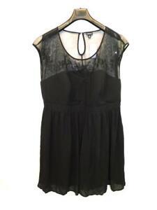 Torrid-Size-26-NWT-Black-Floral-Embroidered-Mesh-Illusion-Dress-Sleeveless-Knee