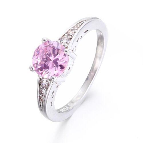 Stunning Engagement Ring Brilliant Cut Pink Cz Set Solitaire Wedding Valentine