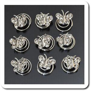 Set 10 Curlies Haarspiralen Schmetterling Kristall Spiralhaar Braut Hochzeit SchüTtelfrost Und Schmerzen