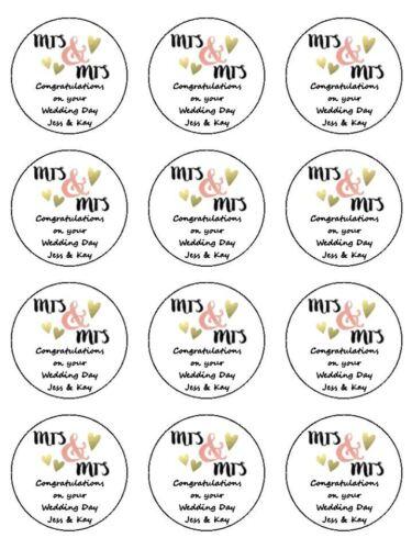 """12x Mme /& Mme même Sexe mariage gay 2/"""" Pre-Cut Premium Papier de riz gâteau Toppers"""