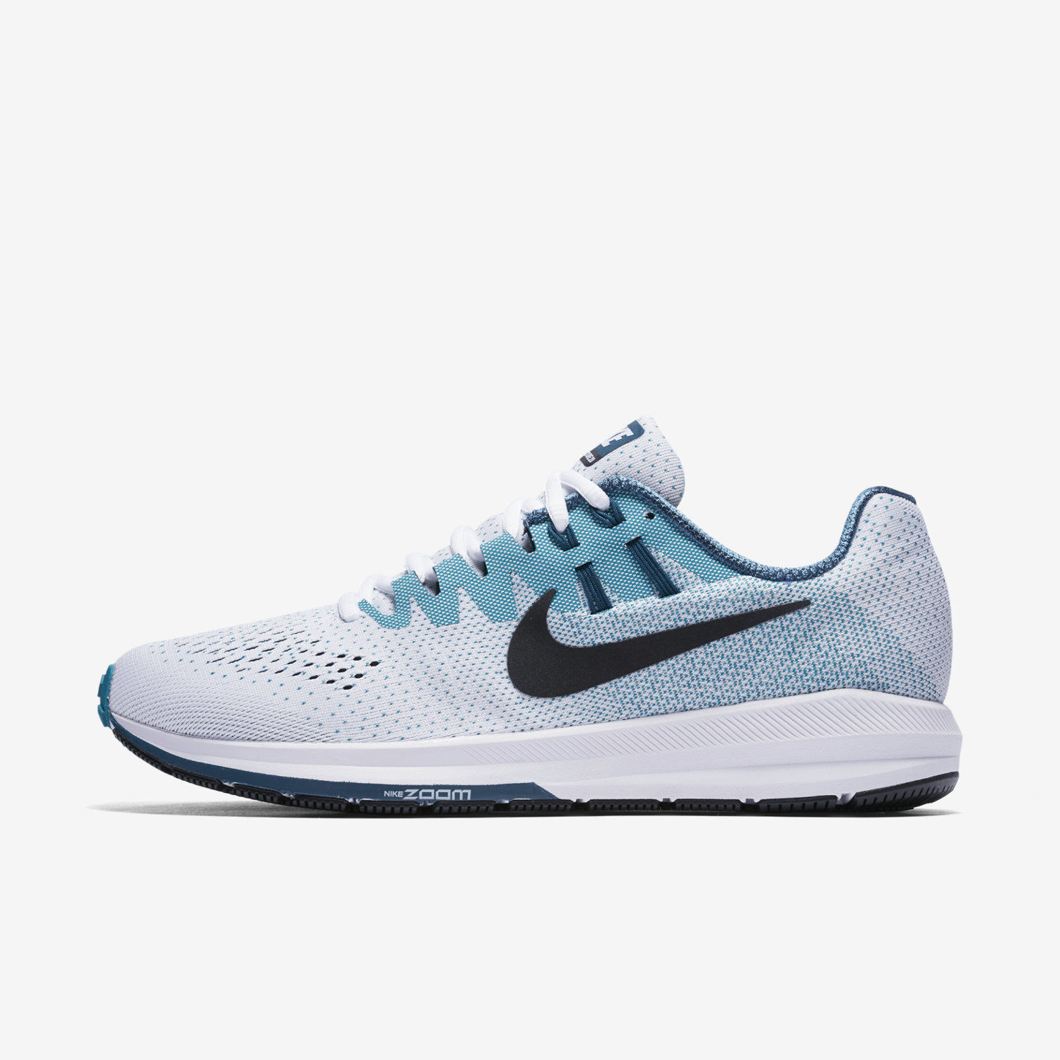 MEN'S NIKE AIR ZOOM STRUCTURE 20 SHOES SIZE 7 white black bluestery 849576 101
