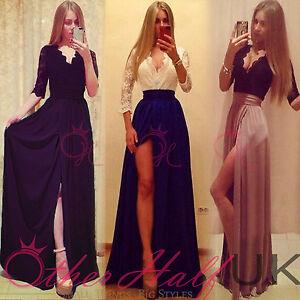 La imagen se está cargando Reino-Unido-mujeres-vestido-largo-formal -encaje-de- 6aa60637b01d